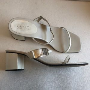 GUCCI chunky high heel slip on sandals shoes